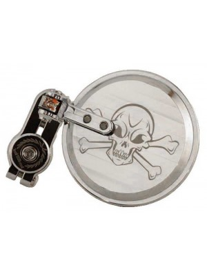 Skull Folding Bar End Mirror